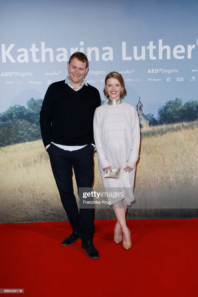 Devid Striesow and Karoline Karoline Schuch attend the 'Katharina Luther' Premiere at Franzoesische Friedrichstadtkirche in Berlin on February 1, 2017 in Berlin, Germany.
