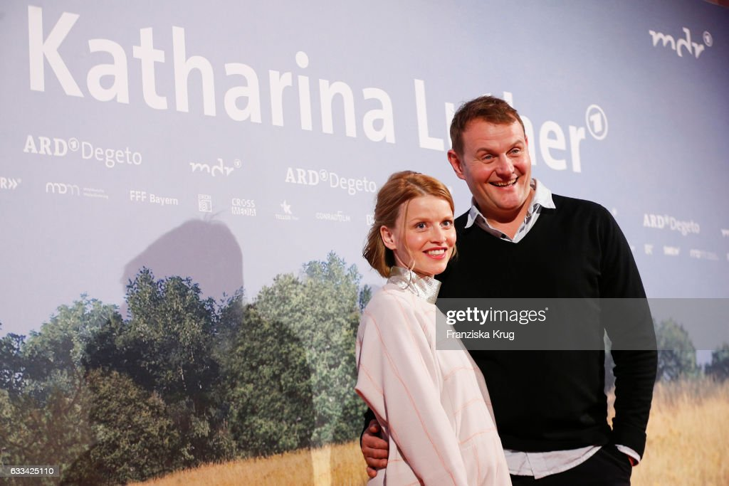 Devid Striesow and Karoline Schuch attend the 'Katharina Luther' Premiere at Franzoesische Friedrichstadtkirche in Berlin on February 1, 2017 in Berlin, Germany.
