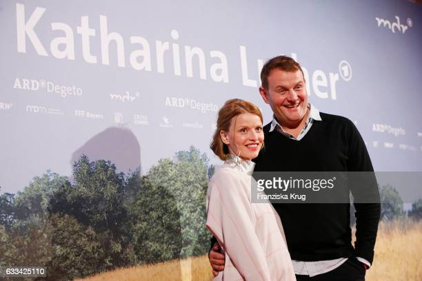 Devid Striesow and Karoline Schuch attend the 'Katharina Luther' Premiere at Franzoesische Friedrichstadtkirche in Berlin on February 1 2017 in...