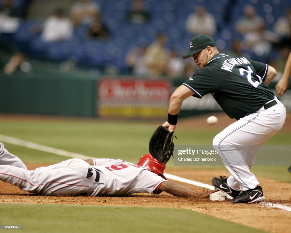 Devil Rays first baseman Ty Wigginton (21) tries to field the ball while Angels infielder Chone Figgins (9) gets back to the bag on June 7th 2006 at Tropicana Field in St. Petersburg, FL