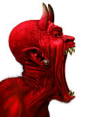 Devil scream character as a red demon or monster sreaming with fangs and teeth with in an open mouth as a side view horror face isolated on a white background with 3D illustration elements.