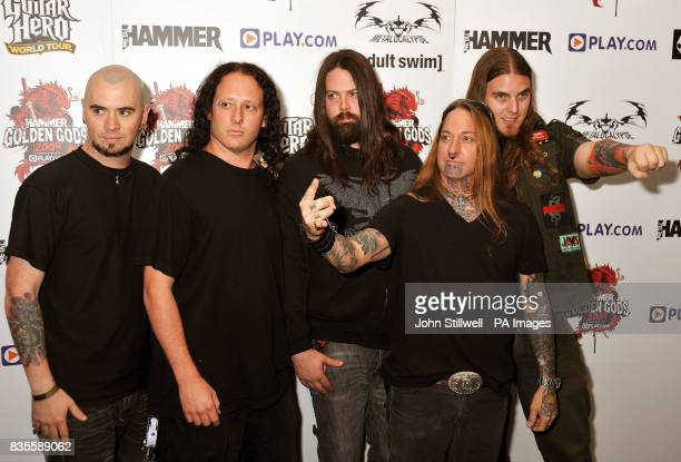 DevilDriver arrive at the Indigo concert venue for the Metal Hammer Golden Gods awards at the O2 Arena in Greenwich south East London