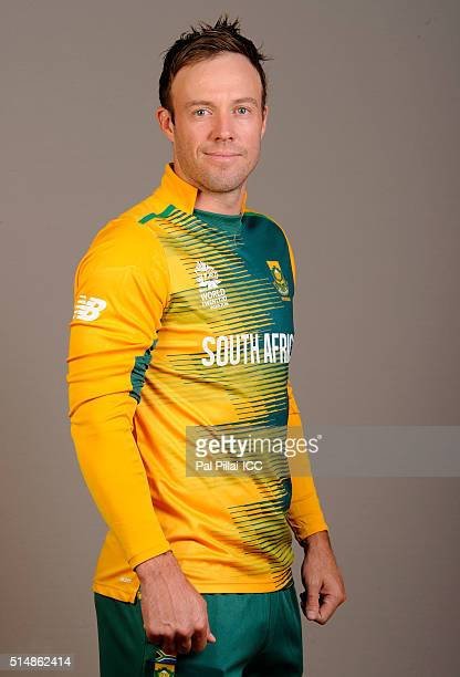 Devilliers of South Africa poses during the official photocall for the ICC Twenty20 World on March 11 2016 in Mumbai India