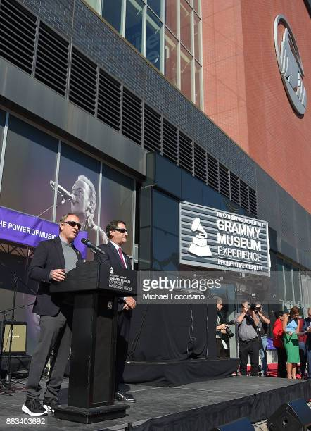 Devils owners Josh Harris and David Blitzer address the audience during the Grammy Museum Experience Prudential Center RibbonCutting Ceremony at...