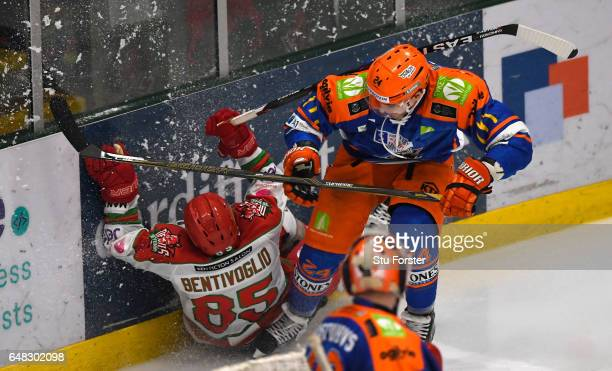 Devils player Sean Bentivoglio hits the ice during the Ice Hockey Elite League Challenge Cup Final between Sheffield Steelers and Cardiff Devils at...