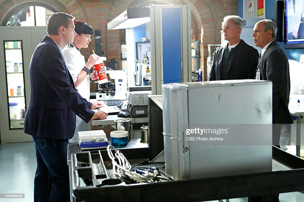 'Devil'™s Trifecta' -- Gibbs (Mark Harmon, second from right) teams up with FBI Agent Fornell (Joe Spano, right) on a joint NCIS/FBI investigation after Fornell becomes the target of a shooting, but they face an unexpected twist in the case when their mutual ex-wife, Diane Sterling, gets involved, on NCIS, Tuesday, Dec. 11 (8:00-9:00 PM, ET/PT) on the CBS Television Network. Also pictured: Sean Murray (left) and Pauley Perrette (Photo by Cliff Lipson/CBS via Getty Images) Mark Harmon;Pauley Perrette;Joe Spano;Sean Murray