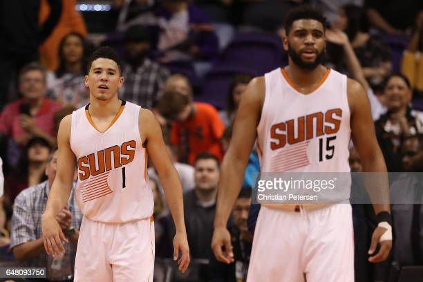Devin Booker and Alan Williams of the Phoenix Suns during the second half of the NBA game against the Oklahoma City Thunder at Talking Stick Resort...