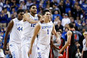Devin Booker and KarlAnthony Towns of the Kentucky Wildcats celebrate against the Georgia Bulldogs during the game at Rupp Arena on February 3 2015...