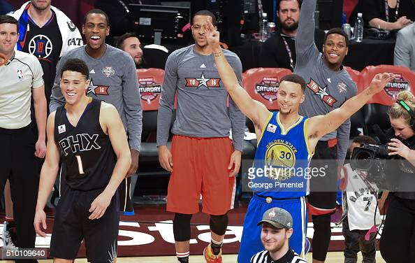 Devin Booker and Stephen Curry attend the 2016 NBA AllStar Saturday Night at Air Canada Centre on February 13 2016 in Toronto Canada