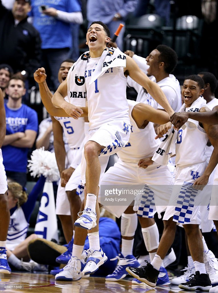 Devin Booker #1 of the Kentucky Wildcats celebrates during the 72-40 win over the Kansas Jayhawks in the State Farm Champions Classic at Bankers Life Fieldhouse on November 18, 2014 in Indianapolis, Indiana.