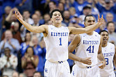 Devin Booker of the Kentucky Wildcats celebrates during the game against the North Carolina Tar Heels at Rupp Arena on December 13 2014 in Lexington...