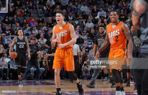 Devin Booker of the Phoenix Suns celebrates after making the game winning shot against the Sacramento Kings on February 3 2017 at Golden 1 Center in...