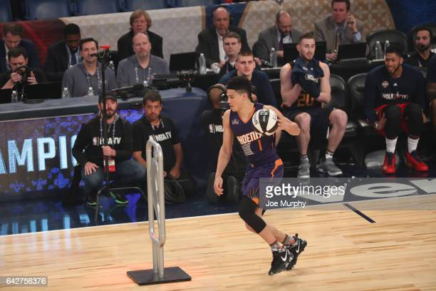 Devin Booker of the Phoenix Suns competes in the Taco Bell Skills Challenge during State Farm AllStar Saturday Night as part of the 2017 NBA AllStar...