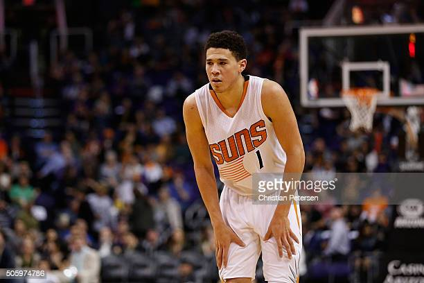 Devin Booker of the Phoenix Suns during the second half of the NBA game against the Indiana Pacers at Talking Stick Resort Arena on January 19 2016...