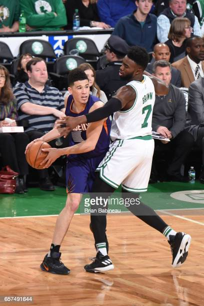Devin Booker of the Phoenix Suns handles the ball against the Boston Celtics on March 24 2017 at the TD Garden in Boston Massachusetts NOTE TO USER...