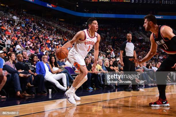 Devin Booker of the Phoenix Suns handles the ball against the Portland Trail Blazers on October 18 2017 at Talking Stick Resort Arena in Phoenix...