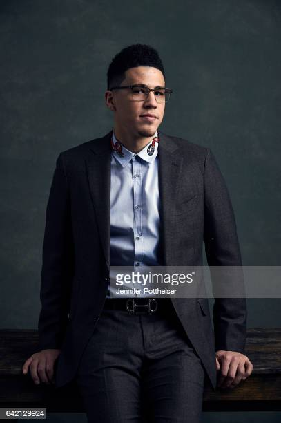 Devin Booker of the Phoenix Suns poses for portraits during the NBAE Circuit as part of 2017 AllStar Weekend at the RitzCarlton Hotel on February 16...