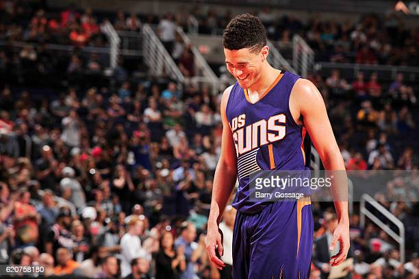 Devin Booker of the Phoenix Suns reacts to a play against the Portland Trail Blazers on November 2 2016 at Talking Stick Resort Arena in Phoenix...