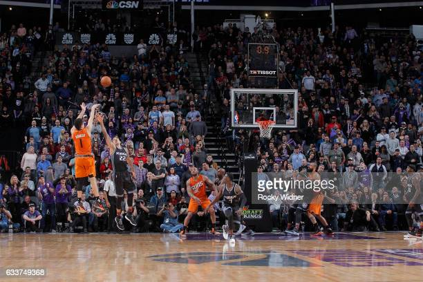 Devin Booker of the Phoenix Suns shoots the game winning shot against the Sacramento Kings on February 3 2017 at Golden 1 Center in Sacramento...