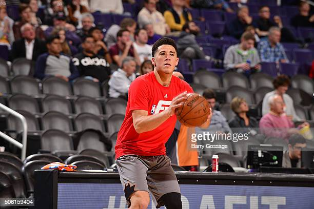 Devin Booker of the Phoenix Suns warms up before the game against the San Antonio Spurs on January 21 2016 at Talking Stick Resort Arena in Phoenix...