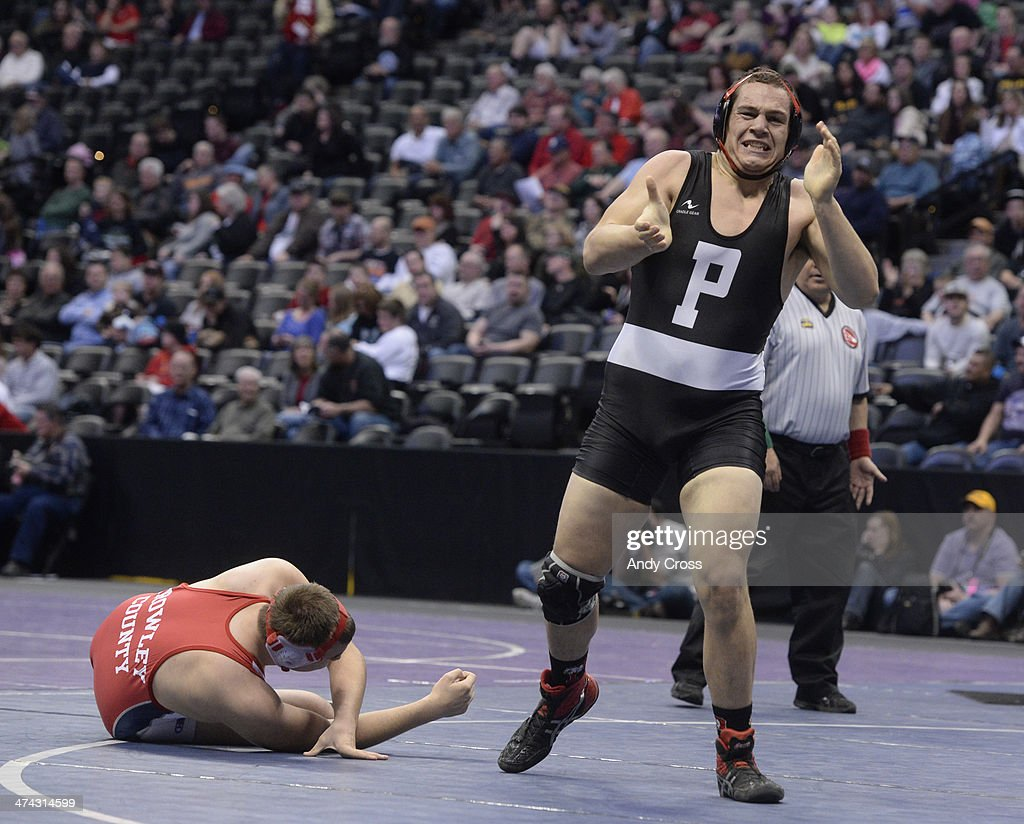 Devin Chacon of Centauri wrestles Creede Wylie of Pagosa Springs in the 3A 285lb championship match The Colorado Wrestling Tournament was held at the...