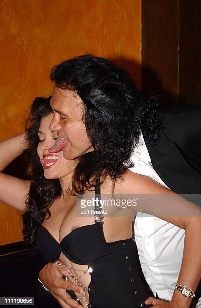 Devin DeVasquez and Gene Simmons during Tongue Magazine Party at Barfly at Barfly in Los Angeles California United States
