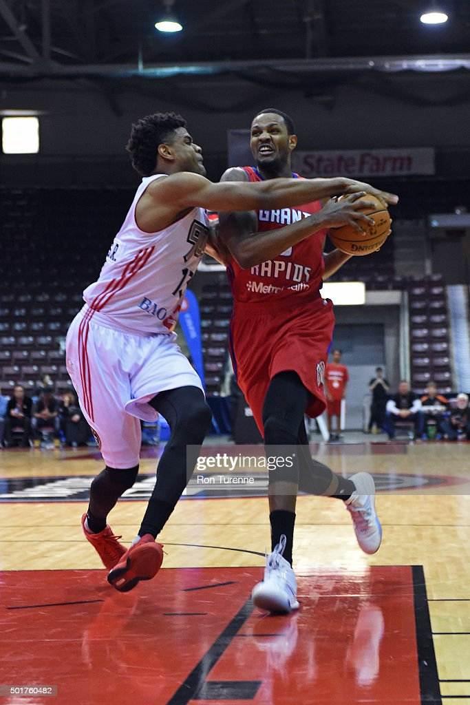 <a gi-track='captionPersonalityLinkClicked' href=/galleries/search?phrase=Devin+Ebanks&family=editorial&specificpeople=5293899 ng-click='$event.stopPropagation()'>Devin Ebanks</a> #3 of the Grand Rapids Drive drives to the basket during a game against the Raptors 905 at the Hershey Centre on December 16, 2015 in Toronto, Ontario, Canada.