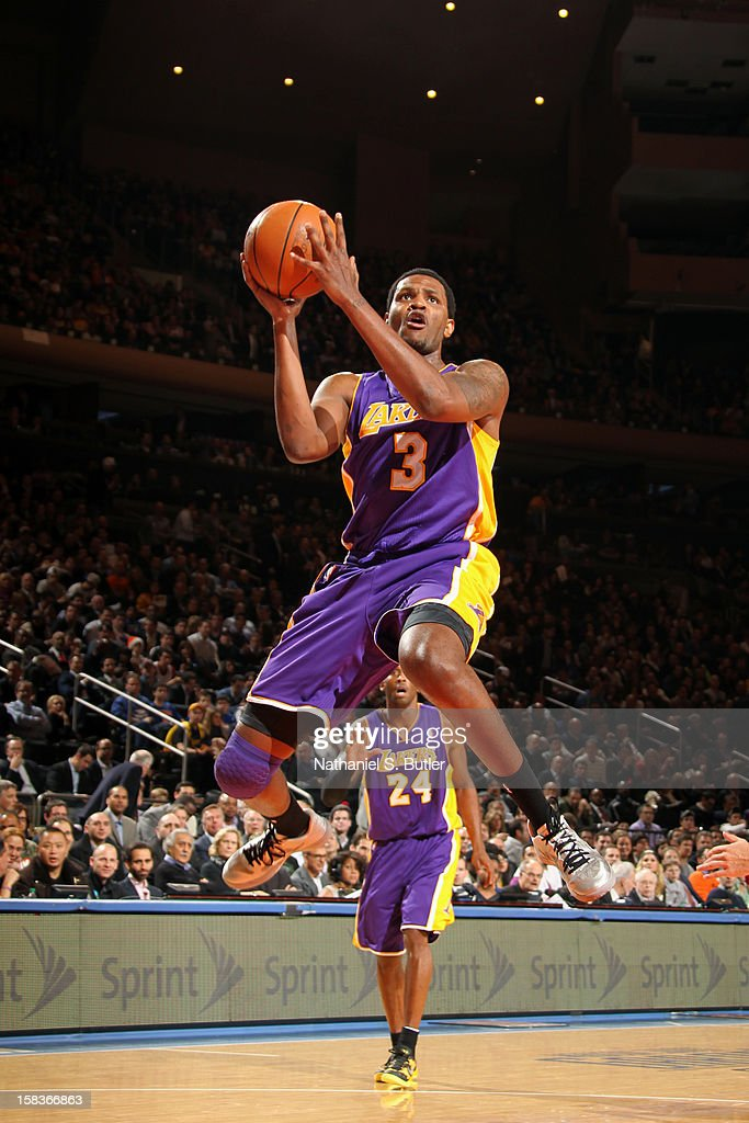Devin Ebanks #3 of the Los Angeles Lakers drives to the basket against the New York Knicks on December 13, 2012 at Madison Square Garden in New York City.