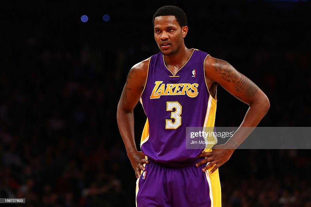 <a gi-track='captionPersonalityLinkClicked' href=/galleries/search?phrase=Devin+Ebanks&family=editorial&specificpeople=5293899 ng-click='$event.stopPropagation()'>Devin Ebanks</a> #3 of the Los Angeles Lakers in action against the New York Knicks at Madison Square Garden on December 13, 2012 in New York City. The Knicks defeated the Lakers 116-107.