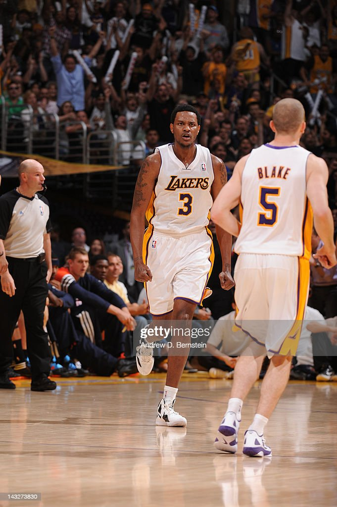 <a gi-track='captionPersonalityLinkClicked' href=/galleries/search?phrase=Devin+Ebanks&family=editorial&specificpeople=5293899 ng-click='$event.stopPropagation()'>Devin Ebanks</a> #3 of the Los Angeles Lakers reacts after making a shot against the Oklahoma City Thunder at Staples Center on April 22, 2012 in Los Angeles, California.