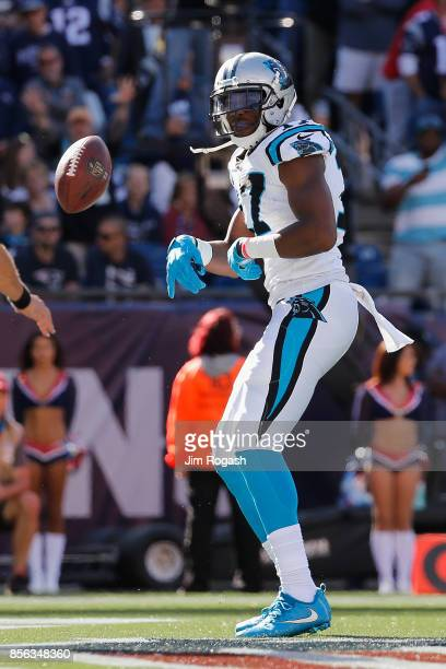 Devin Funchess of the Carolina Panthers celebrates scoring a touchdown during the third quarter against the New England Patriots at Gillette Stadium...