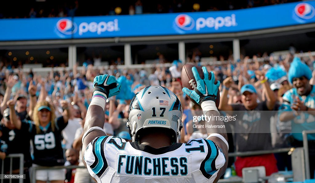 Devin Funchess #17 of the Carolina Panthers salutes the crowd after scoring a touchdown against the San Francisco 49ers in the 4th quarter during the game at Bank of America Stadium on September 18, 2016 in Charlotte, North Carolina.