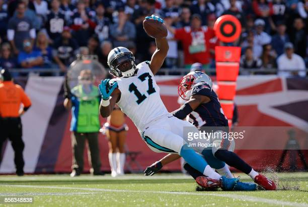 Devin Funchess of the Carolina Panthers scores a touchdown during the third quarter against the New England Patriots at Gillette Stadium on October 1...