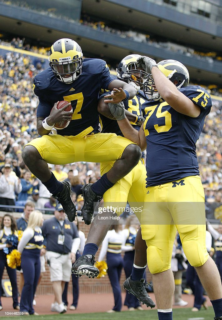 Devin Gardner celebrates a fourth quarter touchdown during the game against Bowling Green on September 25 2010 at Michigan Stadium in Ann Arbor...