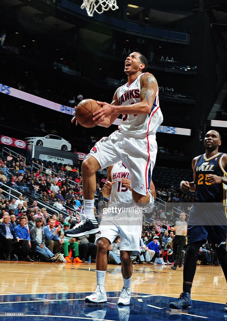 Devin Harris #34 of the Atlanta Hawks goes up for the layup against the Utah Jazz on January 11, 2013 at Philips Arena in Atlanta, Georgia.