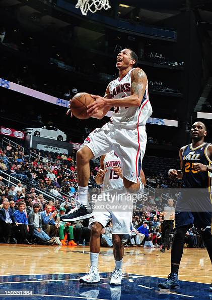 Devin Harris of the Atlanta Hawks goes up for the layup against the Utah Jazz on January 11 2013 at Philips Arena in Atlanta Georgia NOTE TO USER...