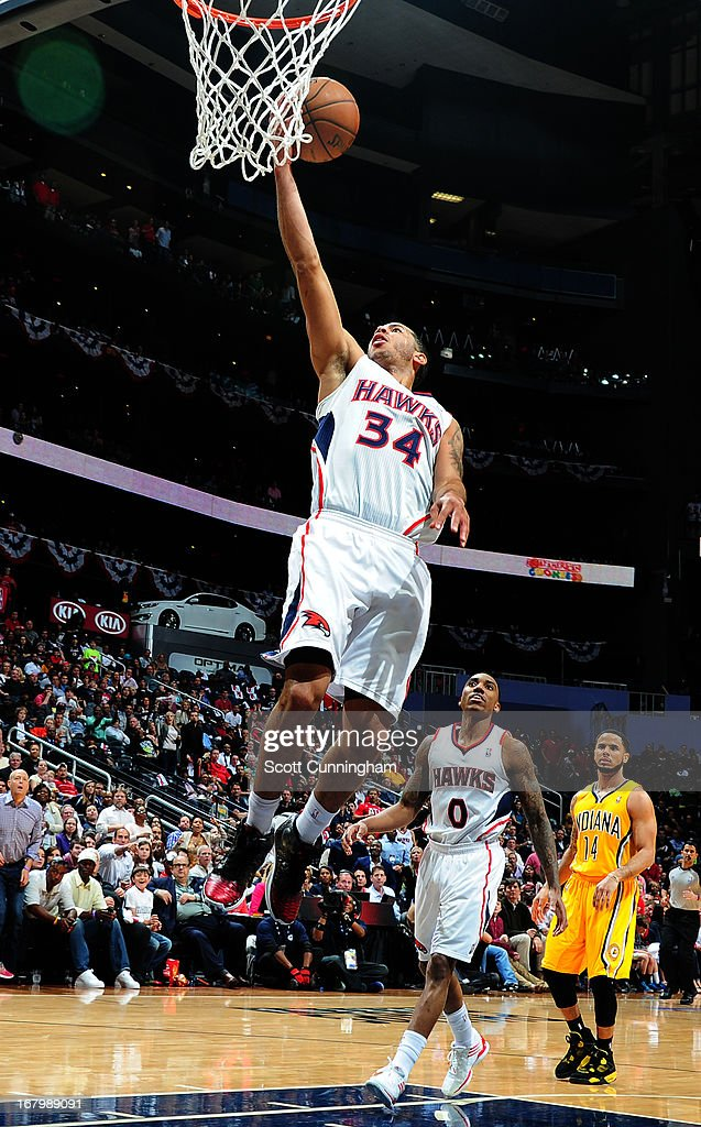 Devin Harris #34 of the Atlanta Hawks goes up for the layup against the Indiana Pacers during Game Six of the Eastern Conference Quarterfinals in the 2013 NBA Playoffs on May 3, 2013 at Philips Arena in Atlanta, Georgia.
