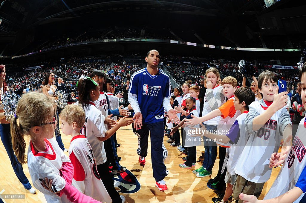 Devin Harris #34 of the Atlanta Hawks runs out before the game against the Toronto Raptors on January 30, 2013 at Philips Arena in Atlanta, Georgia.