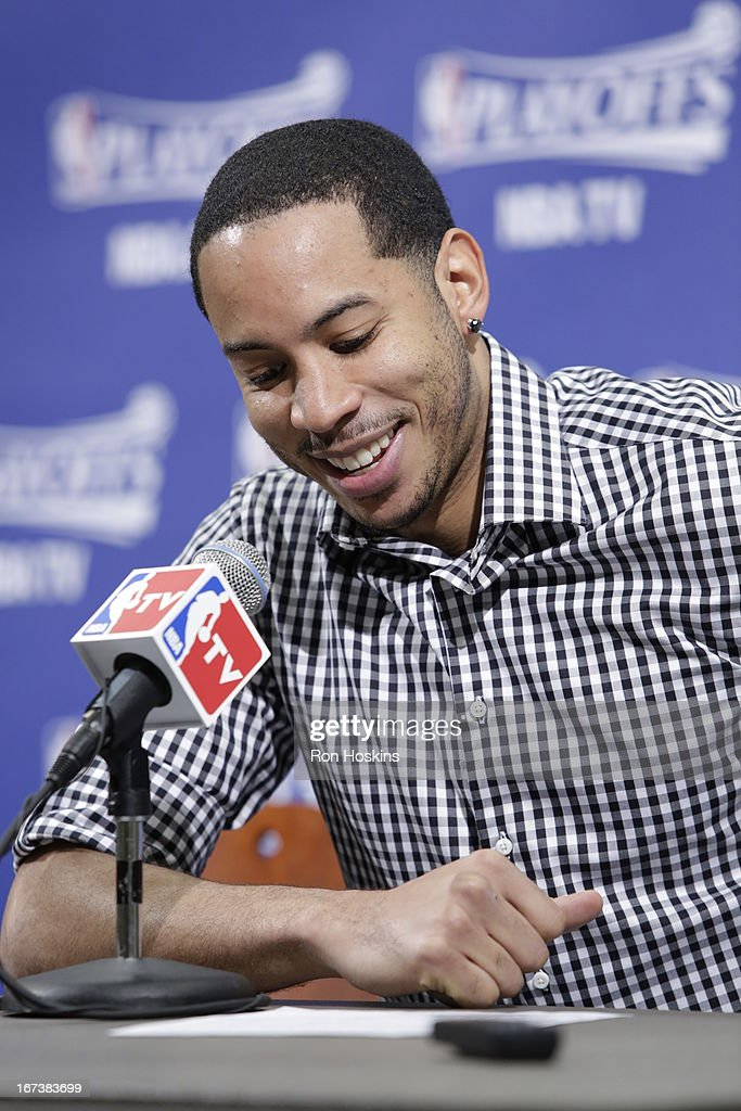 Devin Harris #34 of the Atlanta Hawks speaks during a press conference after a loss in Game Two of the Eastern Conference Quarterfinals between the Indiana Pacers and the Atlanta Hawks on April 24, 2013 at Bankers Life Fieldhouse in Indianapolis, Indiana.