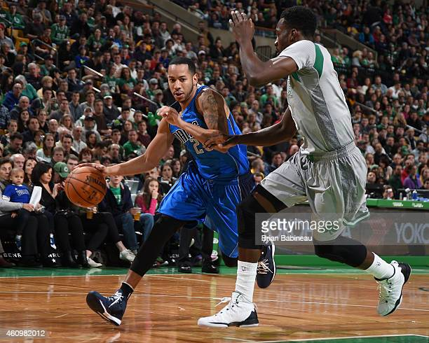 Devin Harris of the Dallas Mavericks handles the ball against the Boston Celtics on January 2 2015 at the TD Garden in Boston Massachusetts NOTE TO...