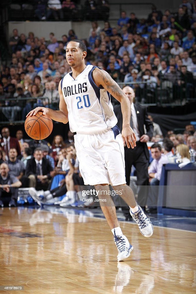 Devin Harris of the Dallas Mavericks handles the ball against the Oklahoma City Thunder on March 25 2014 at the American Airlines Center in Dallas...