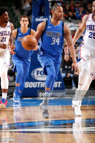 Devin Harris of the Dallas Mavericks handles the ball against the Philadelphia 76ers on October 28 2017 at the American Airlines Center in Dallas...