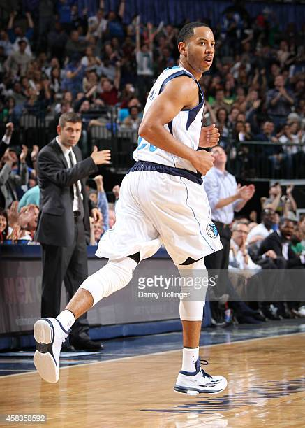 Devin Harris of the Dallas Mavericks runs down the court during a game against the Boston Celtics on November 3 2014 at the American Airlines Center...