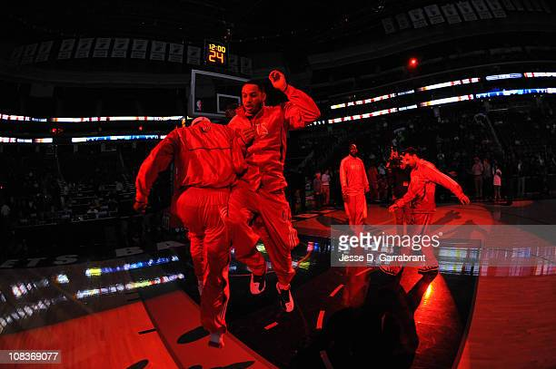 Devin Harris of the New Jersey Nets during pregame introductions against the Memphis Grizzlies during the game on January 26 2011 at the Prudential...