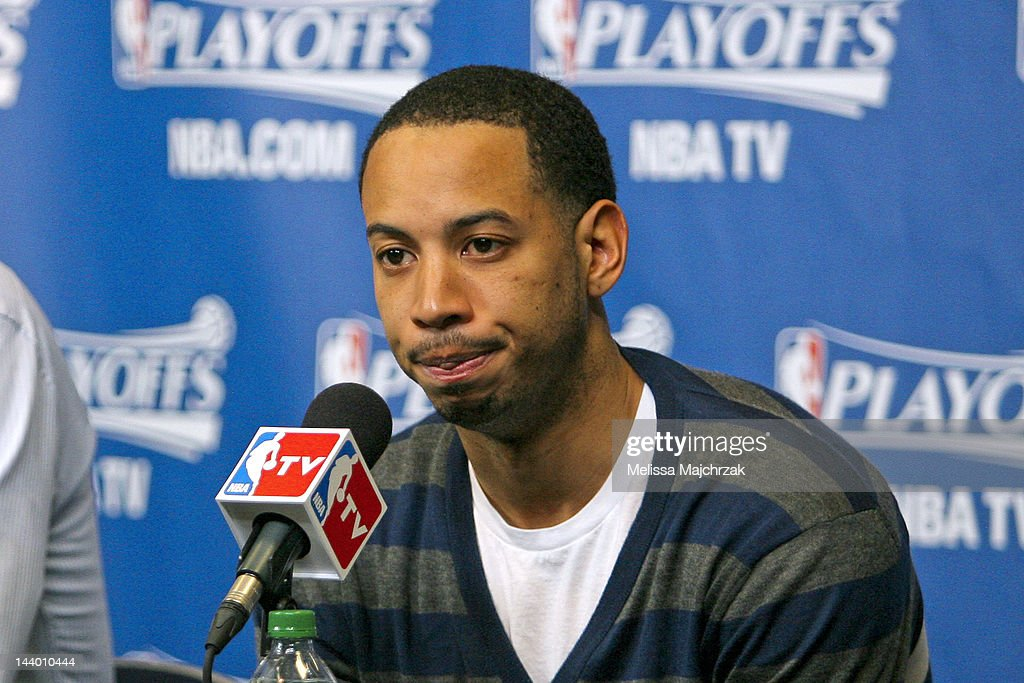 <a gi-track='captionPersonalityLinkClicked' href=/galleries/search?phrase=Devin+Harris&family=editorial&specificpeople=202195 ng-click='$event.stopPropagation()'>Devin Harris</a> #5 of the Utah Jazz speaks after his team's loss to the San Antonio Spurs in Game Four of the Western Conference Quarterfinals during the 2012 NBA Playoffs at Energy Solutions Arena on May 7, 2012 in Salt Lake City, Utah.