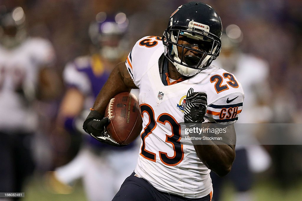 Devin Hester #23 of the Chicago Bears carries the ball after making a reception against the Minnesota Vikings at Mall of America Field on December 9, 2012 in Minneapolis, Minnesota.