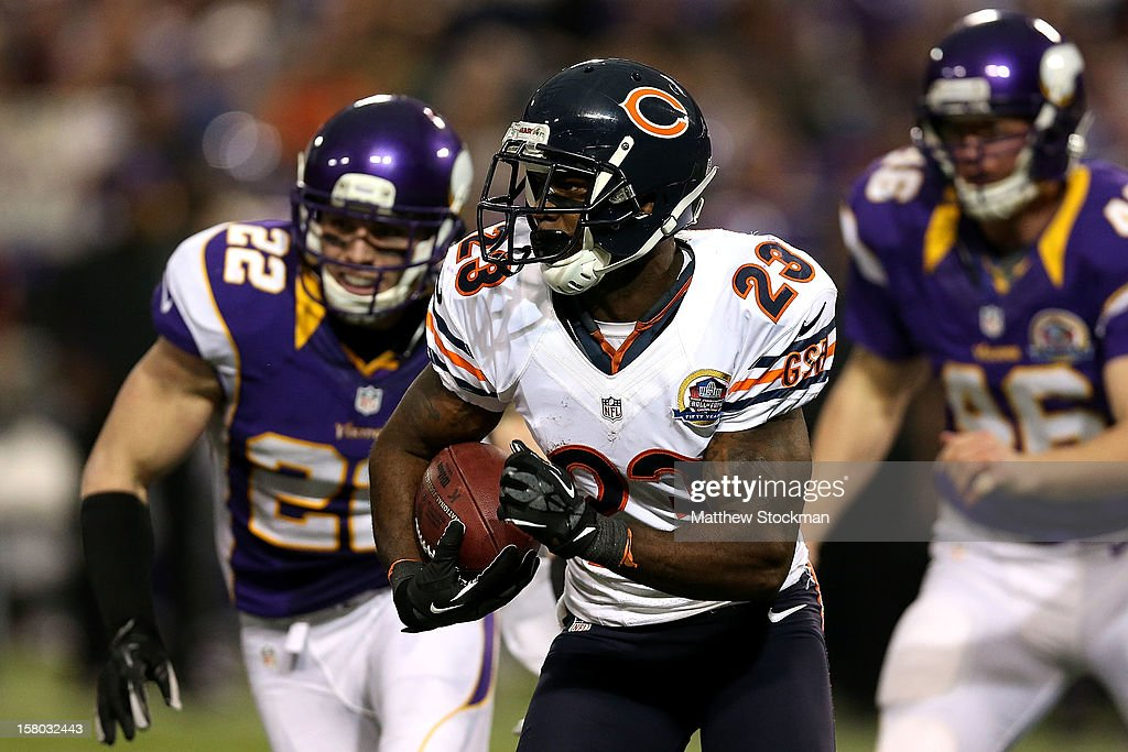 <a gi-track='captionPersonalityLinkClicked' href=/galleries/search?phrase=Devin+Hester&family=editorial&specificpeople=589809 ng-click='$event.stopPropagation()'>Devin Hester</a> #23 of the Chicago Bears returns a punt against the Minnesota Vikings at Mall of America Field on December 9, 2012 in Minneapolis, Minnesota.
