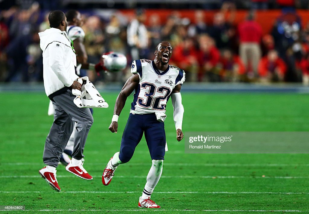 <a gi-track='captionPersonalityLinkClicked' href=/galleries/search?phrase=Devin+McCourty&family=editorial&specificpeople=4510365 ng-click='$event.stopPropagation()'>Devin McCourty</a> #32 of the New England Patriots celebrates their 28-24 win over the Seattle Seahawks during Super Bowl XLIX at University of Phoenix Stadium on February 1, 2015 in Glendale, Arizona.