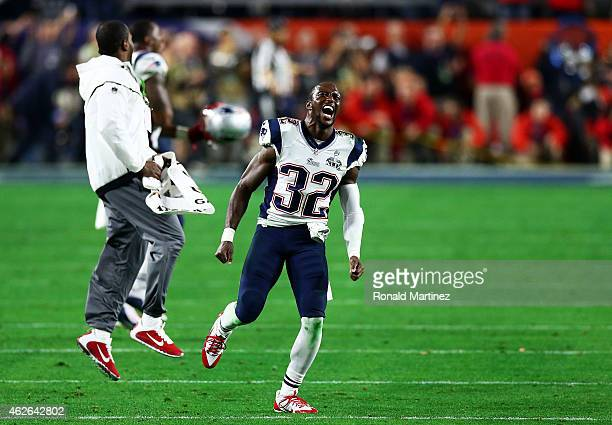 Devin McCourty of the New England Patriots celebrates their 2824 win over the Seattle Seahawks during Super Bowl XLIX at University of Phoenix...