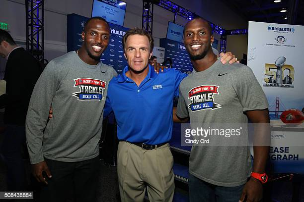 Devin McCourty of the New England Patriots former NFL player Doug Flutie and Jason McCourty of the Tennessee Titans visit the SiriusXM set at Super...